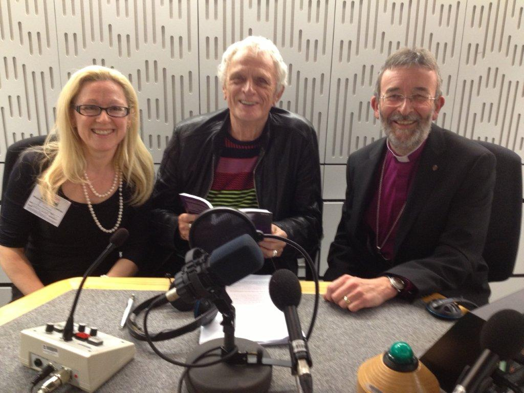 Bishop Nigel and his co-author Dr Caroline Gatrell with BBC Radio 4 host Laurie Taylor